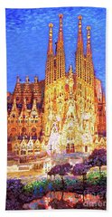 Sagrada Familia At Night Hand Towel by Jane Small