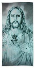 Sagrado Corazon De Jesus Hand Towel by Edgar Torres