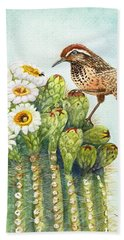 Hand Towel featuring the painting Saguaro And Cactus Wren by Marilyn Smith
