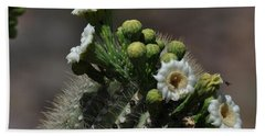 Hand Towel featuring the photograph Saguaro Flower With Bee by Frank Madia