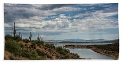 Hand Towel featuring the photograph Saguaro With A Lake View  by Saija Lehtonen
