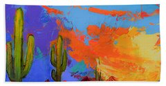 Saguaros Land Sunset By Elise Palmigiani - Square Version Hand Towel
