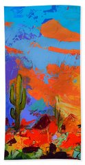 Saguaros Land Sunset By Elise Palmigiani - Square Version Bath Towel