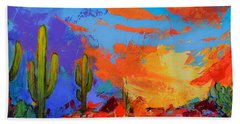 Bath Towel featuring the painting Saguaros Land Sunset by Elise Palmigiani