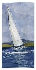 Hand Towel featuring the painting Sail Away by Eva Ason