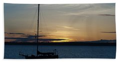 Sail Boat At Sunset Hand Towel