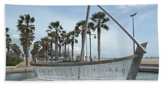 Sail Boat Fountain In Valencia Hand Towel