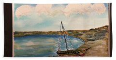 Sail Boat On Shore Hand Towel