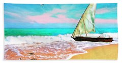 Sail Boat On The Shore Bath Towel