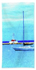 Hand Towel featuring the painting Sailboat At Rest by Desiree Paquette