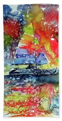 Sailboat At Sunset II Hand Towel by Kovacs Anna Brigitta
