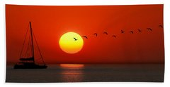 Sailboat At Sunset Hand Towel by Joe Bonita