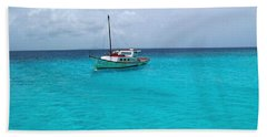 Sailboat Drifting In The Caribbean Azure Sea Bath Towel