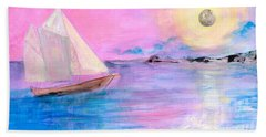 Sailboat In Pink Moonlight  Hand Towel