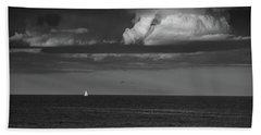 Sailboat Into A Storm Bath Towel by Raymond Salani III