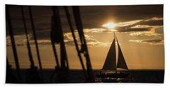 Sailboat On The Horizon Hand Towel
