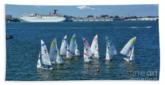 Bath Towel featuring the photograph Sailboat Races by Kathy Baccari