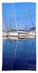 Sailboat Reflections - Rovinj, Croatia  Bath Towel