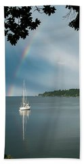 Sailboat Under The Rainbow Hand Towel by Mary Lee Dereske