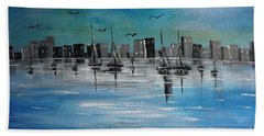 Sailboats And Cityscape Bath Towel