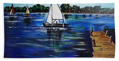Sailboats And Pier Bath Towel