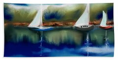 Sailboats At Dusk Hand Towel