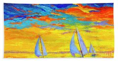Sailboats At Sunset, Colorful Landscape, Impressionistic Art Hand Towel