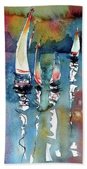 Sailboats II Hand Towel by Kovacs Anna Brigitta