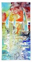 Sailboats In Light Hand Towel by Kovacs Anna Brigitta
