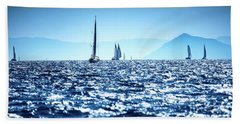 Sailboats In The Sea Hand Towel