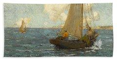 Sailboats On Calm Seas Bath Towel
