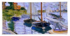 Sailboats On The Seine At Petit Gennevilliers Claude Monet 1874 Bath Towel