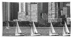 Sailing In New York Harbor No. 3-1 Bath Towel