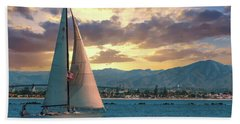 Sailing In San Diego Hand Towel