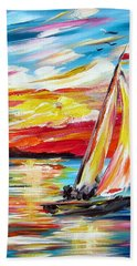 Sailing In The Indian Ocean Summer  Hand Towel