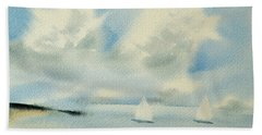 Sailing Into A Calm Anchorage Hand Towel