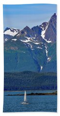 Sailing Lynn Canal Hand Towel by Cathy Mahnke