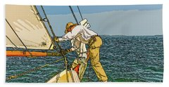 Sailing-not For Wimps-abstract Painting Hand Towel
