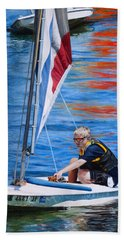 Sailing On Lake Thunderbird Bath Towel by Joshua Martin