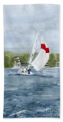 Bath Towel featuring the painting Sailing On Niagara River by Melly Terpening