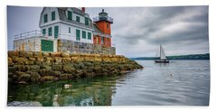 Hand Towel featuring the photograph Sailing Past The Breakwater by Rick Berk