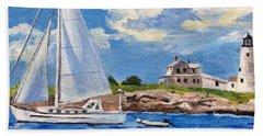 Sailing Past Wood Island Lighthouse Hand Towel