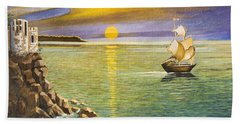 Sailing Ship And Castle Hand Towel