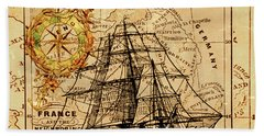 Sailing Ship Map Hand Towel