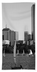 Sailing The Charles River Boston Ma Black And White Hand Towel