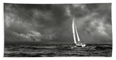 Sailing The Wine Dark Sea In Black And White Hand Towel