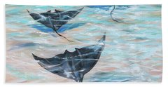Bath Towel featuring the painting Sailing Under The Water by Linda Olsen