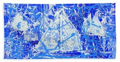Hand Towel featuring the painting Sailing With Friends by J R Seymour