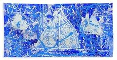 Sailing With Friends Bath Towel by J R Seymour
