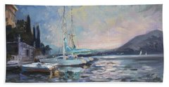 Sails 8 - Lake Como Varenna Hand Towel by Irek Szelag